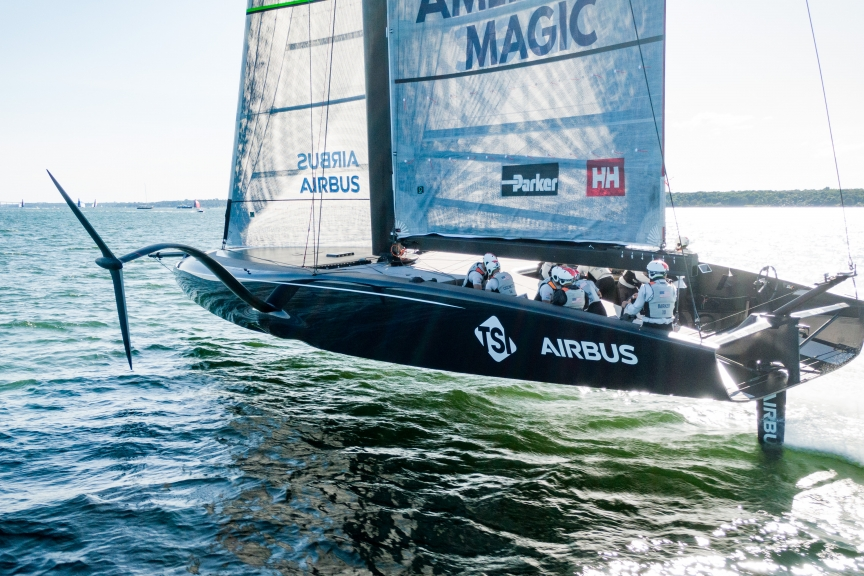 190913_ROSS_PORTSMOUTH_0022.DNG - The team's first AC75 sails on Narragansett Bay.